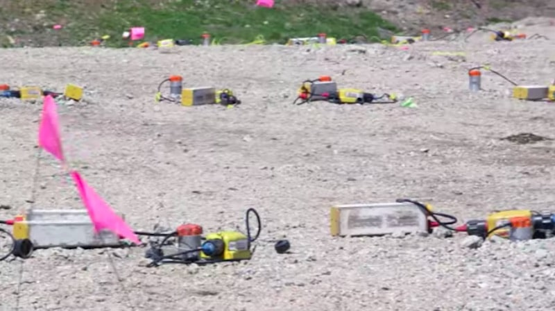 Explosive devices on ground in Money Pit area