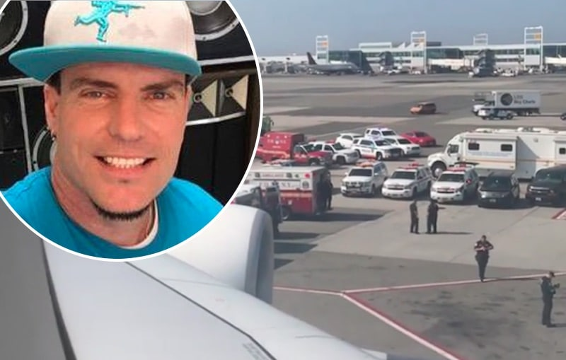 Vanilla Ice and view out of his window at the plane quarantine incident