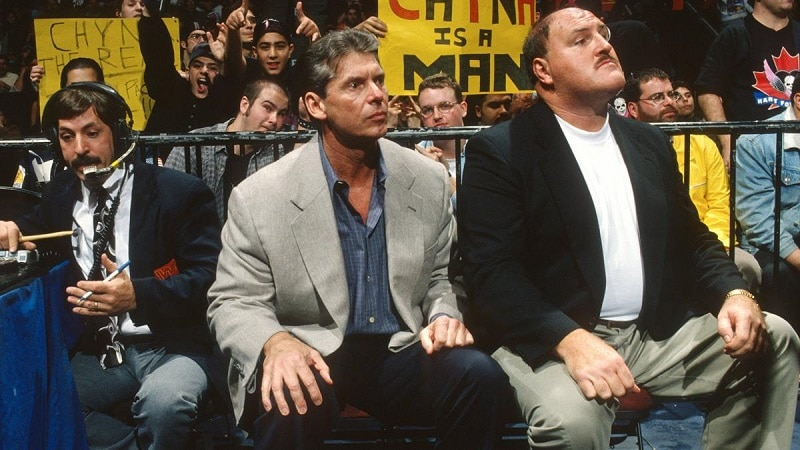 Vince McMahon at ringside in Montreal.