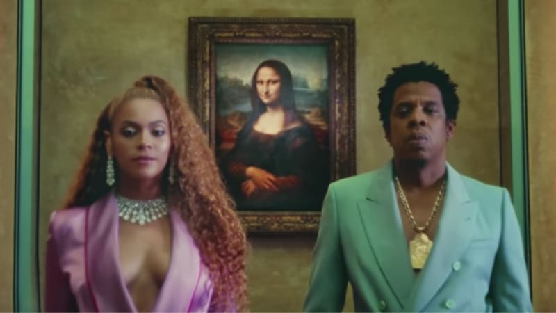 Beyonce and Jay Z in the music video for Apes**t