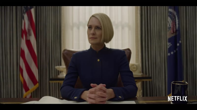 Claire Underwood is taking over in Season 6 of House of Cards. Pic credit: Netflix