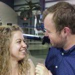 John David Duggar and Abbie Burnett after their engagement in an airplane hanger