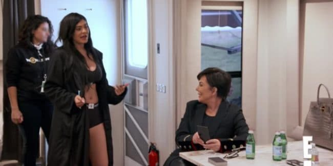 Kris Jenner talks to Kylie about her insecurities on set for a family photoshoot on Keeping Up With The Kardashians