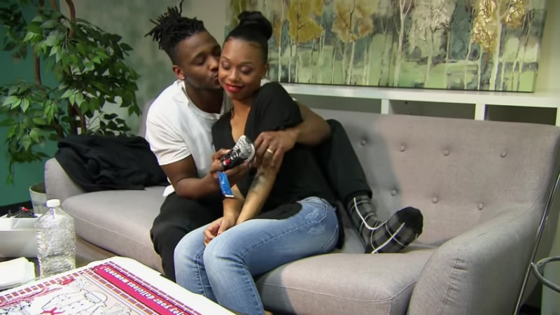 Jephte Pierre and Shawniece Jackson sitting together after she revealed pregnancy news
