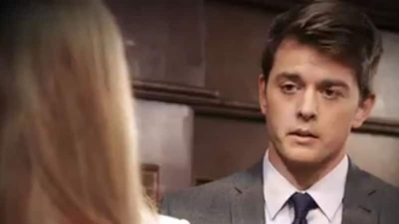 Chad Duell as Michael Coronthos looking at Chloe Lanier's Nelle