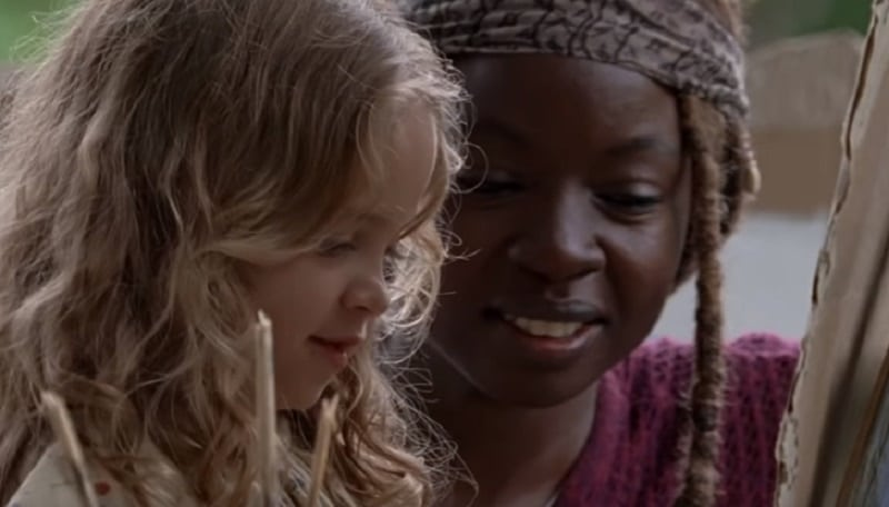 Michonne and Judith during season premiere 9 of The Walking Dead