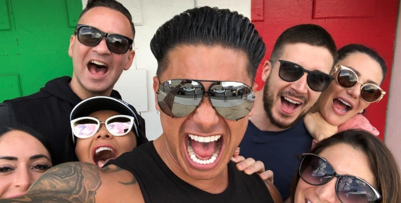 Mike Sorrentino, Pauly D, Vinny Guadagnino, Snookie, JWoww, Deana and Angelina pose for a selfie before court.