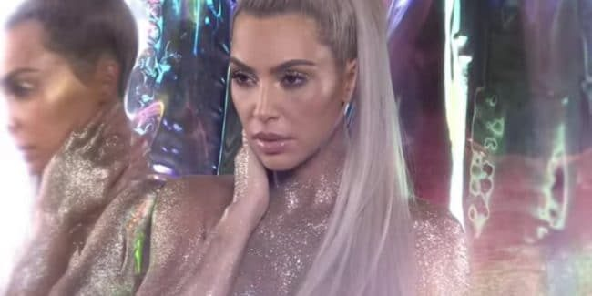 Kim Kardashian when she modeled for the Ultra Light Beams highlight collection for KKW Beauty on KUWTK