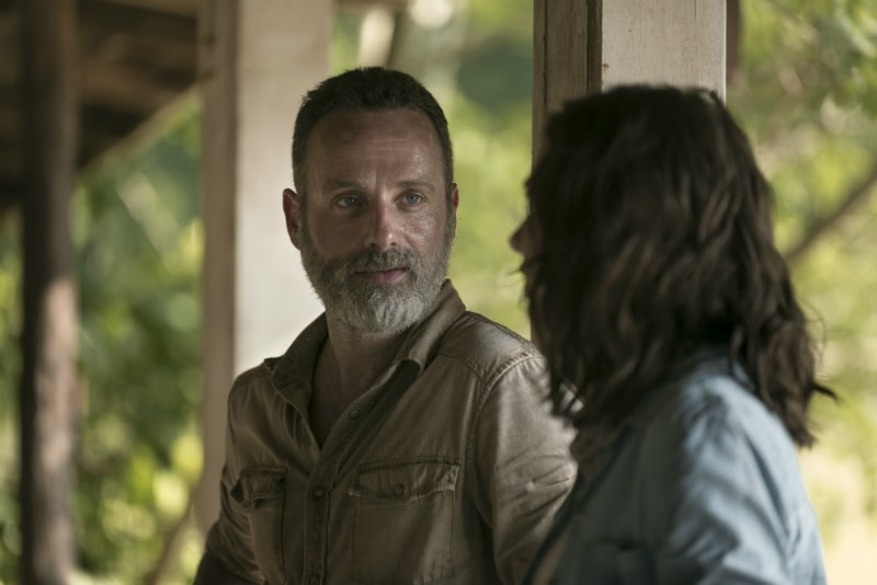 Rick Grimes played by Andrew Lincoln and Maggie Greene played by Lauren Cohan on The Walking Dead