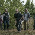 Melissa McBride as Carol Peletier, Andrew Lincoln as Rick Grimes, Callan McAuliffe as Alden, Kerry Cahill as Dianne- The Walking Dead _ Season 9, Episode 2 - Photo Credit: Jackson Lee Davis/AMC