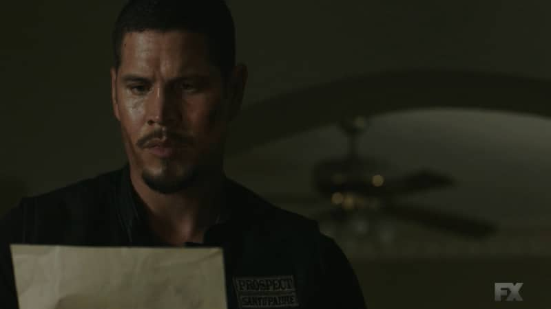 Still Image from Mayans M.C. Cucaracha/K'uruch. EZ returns home to find Felipe gone and learns his father's true identity. Pic Credit: FX.