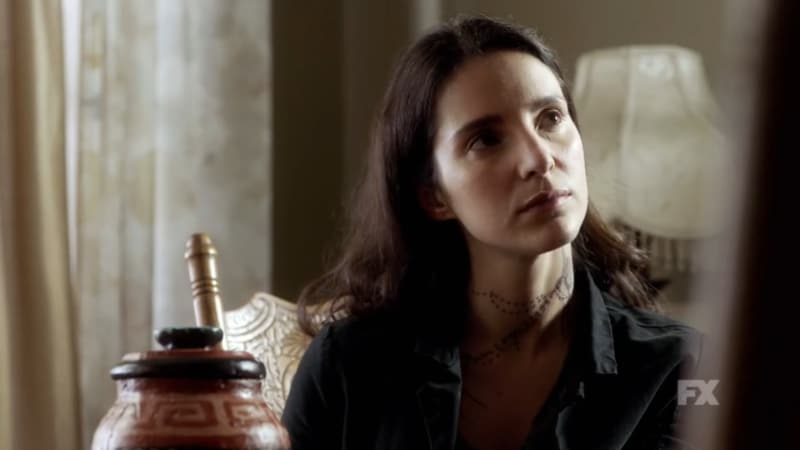 Still Image from Mayans M.C. Cucaracha/K'uruch. Unbeknownst to Angel and EZ, Adelita threatens Felipe Reyes thinking he sold out her father to the cartel. Pic Credit: FX.