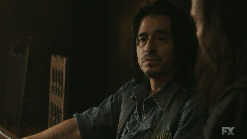 Still Image: Mayans M.C. Rata/Ch'o. Club Secretary Riz is put on blast for hiding the tunnels from the M.C. Pic Credit: FX