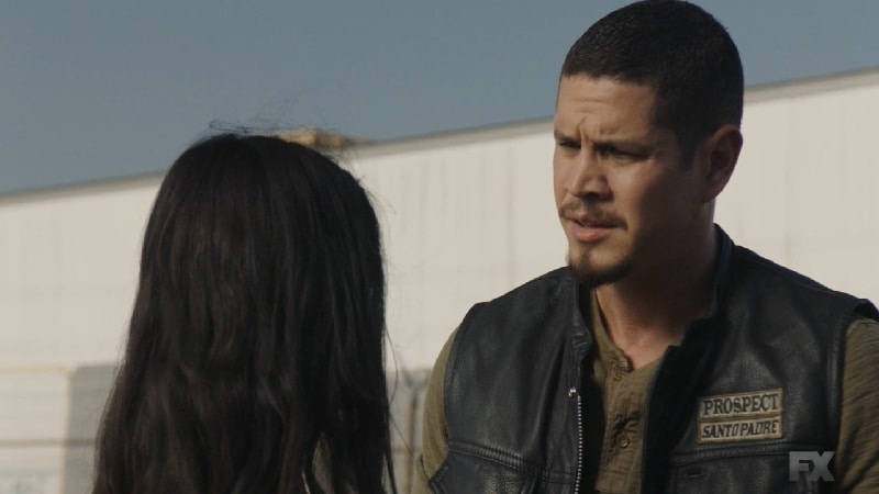 Still image from Mayans M.C. Gato/Mis. Leti, Coco's daughter, shares her mistake with EZ asking for help to clean up the mess. Pic credit: FX