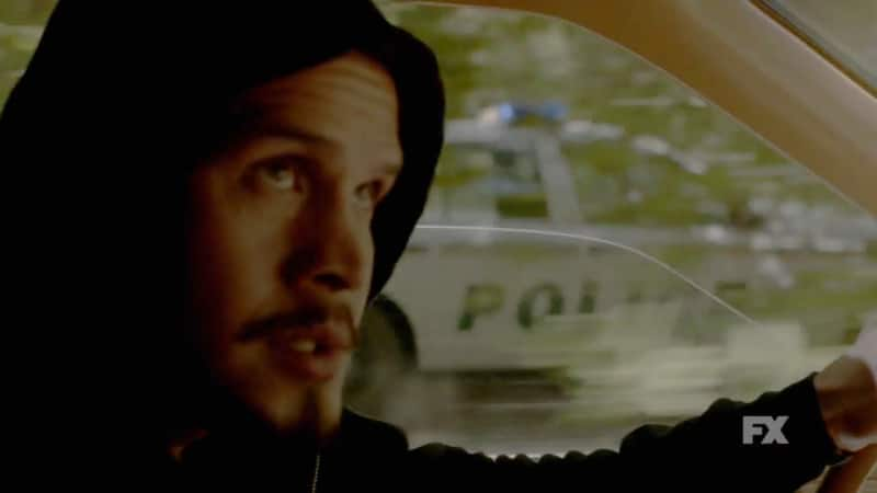 Still Image: Mayans M.C. Gato/Mis preview. EZ Reyes flees from police in a high speed chase. Pic Credit: FX