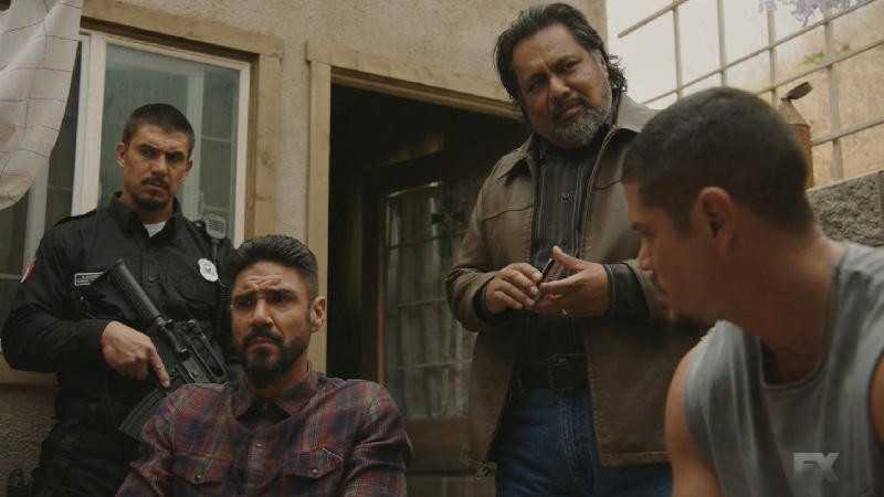 Still Image Mayans M.C. Uch/Opossum. The Mexican police chief releases EZ to retrieve the ransom money for Angel and Cole's translator. Pic Credit: FX