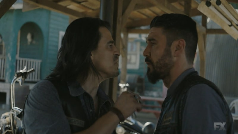 Still Image: Mayans M.C. Rata/Ch'o. After losing his official office, Riz confronts Angel for his disrespectful play. Pic Credit: FX