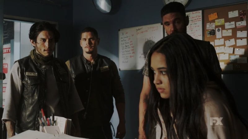 The guys in the Mayans are shocked by Leticia's worldliness and her young age. Pic credit: FX
