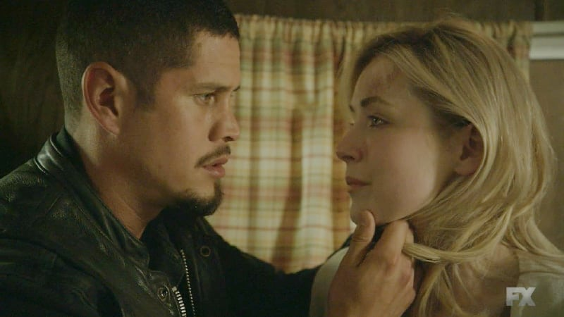 Emily visits EZ at the clubhouse where EZ comes close to telling her about her son Cristobal. Pic Credit: FX