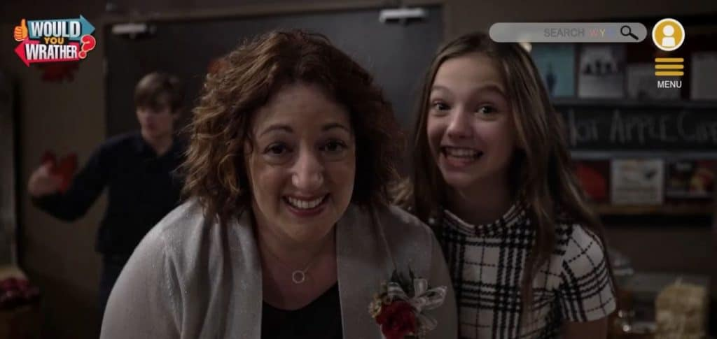 A still from the newest episode showing Jenna and Cami goofing online. Pic credit: Disney