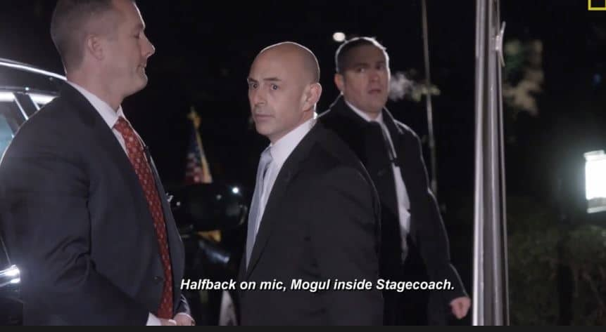 """Anthony Ornato (C) is the lead Secret Service agent as he squares """"Mogul"""" in the """"Stagecoach"""". Pic credit NGC"""