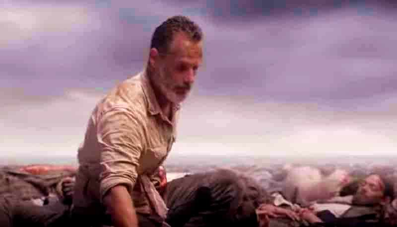 Andrew Lincoln as Rick Grimes on final episode of The Walking Dead