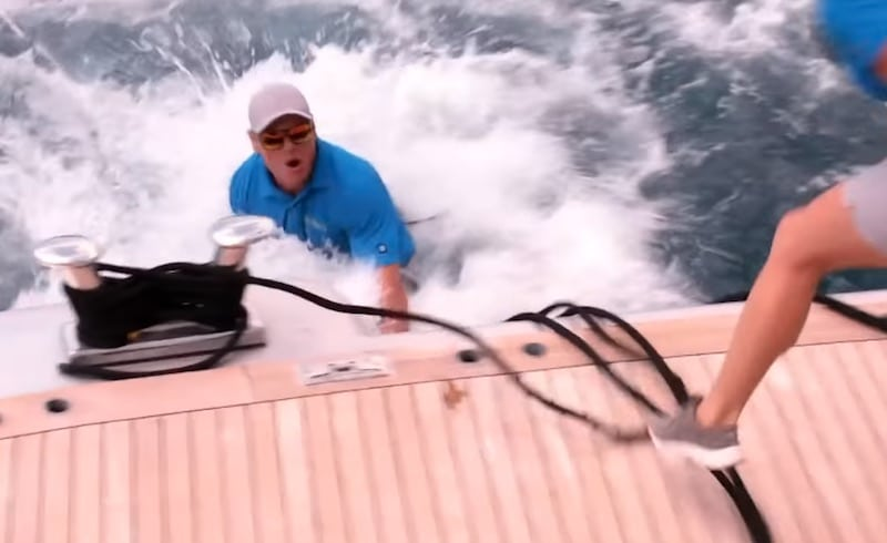 Crew member is pulled overboard on Below Deck