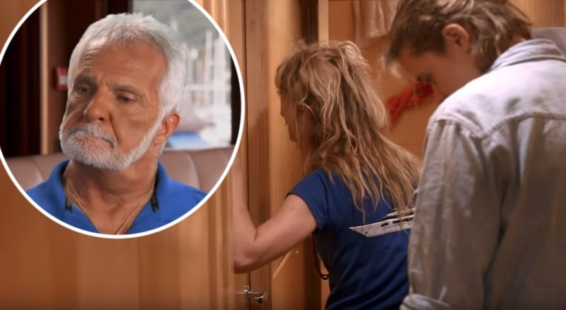 Kate Chastain talking through a closed door and Captain Lee on Below Deck