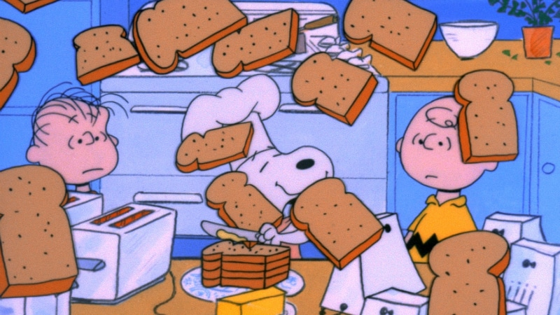Snoopy making toast