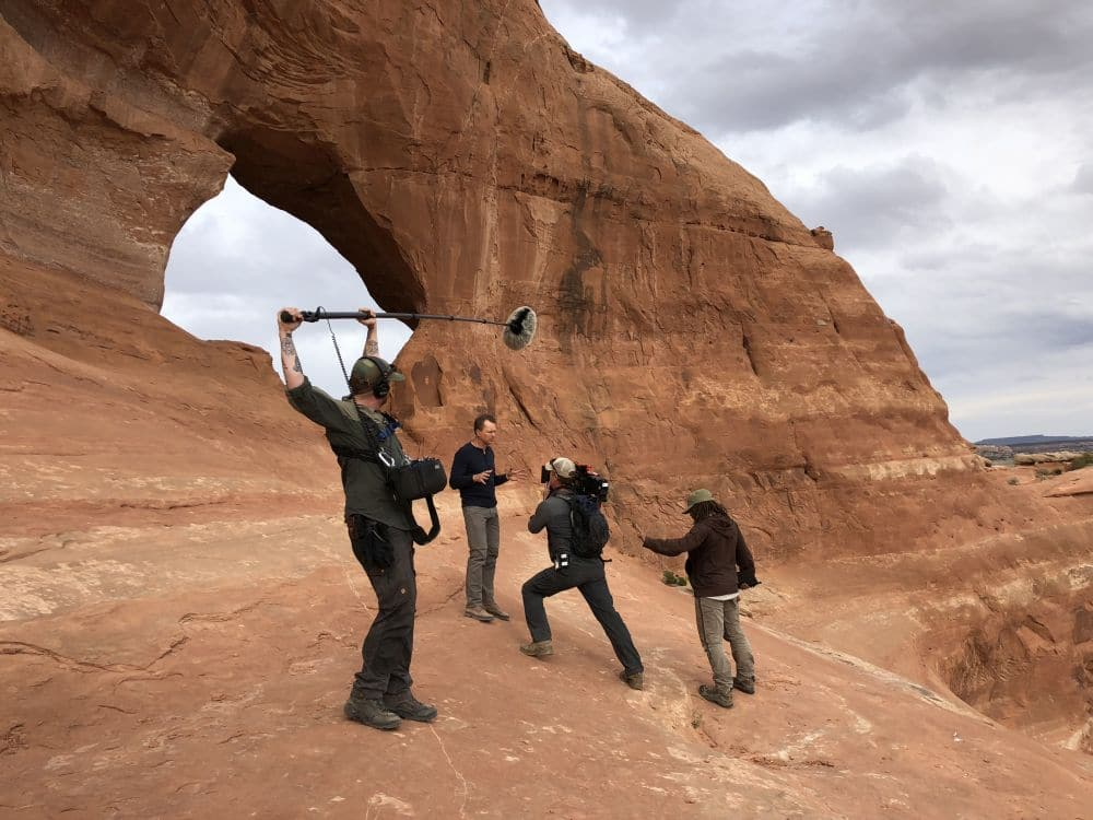 In Moab, UT as the Explorer crew films Phil Keoghan at the Looking Glass Arch in Moab. Pic credit: National Geographic/Michael Churton