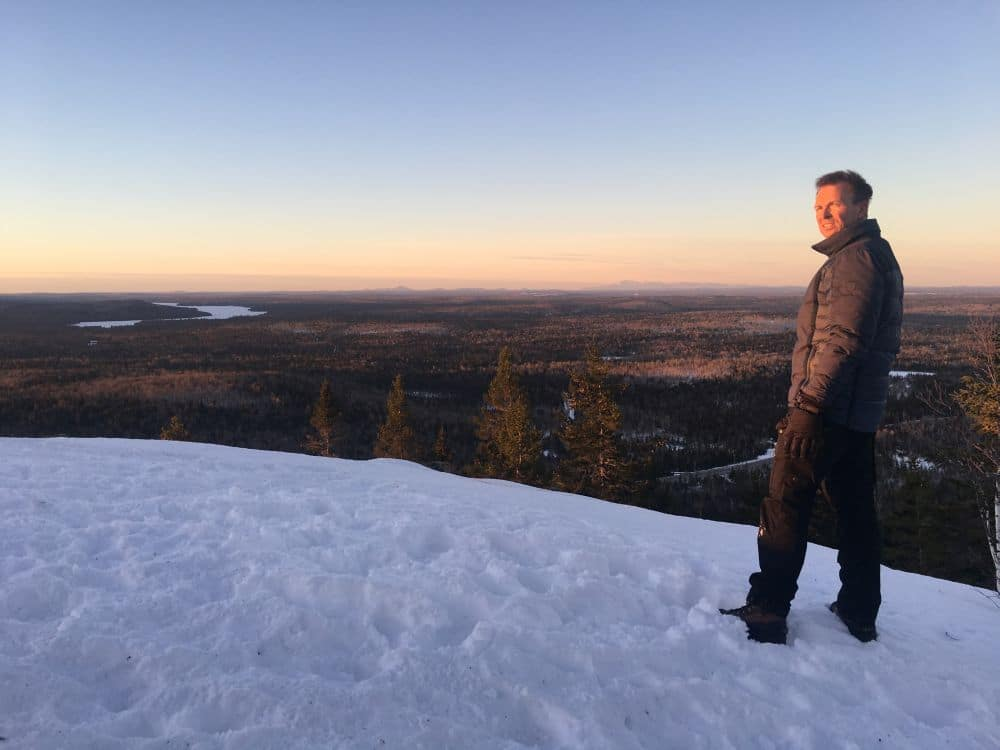 In Ashland, Maine as Explorer Host, Phil Keoghan, is on top of a dormant volcano known as Haystack Mountain. Pic credit: National Geographic/Michael Churton