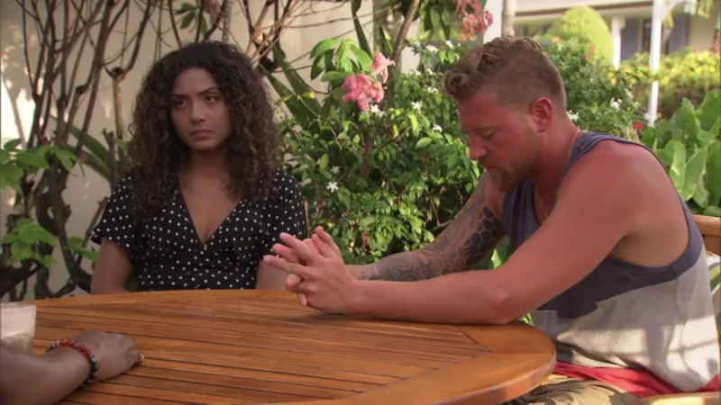 Tyler and Isabella seek help from the experts on Married at First Sight: Honeymoon Island. Pic credit: Lifetime