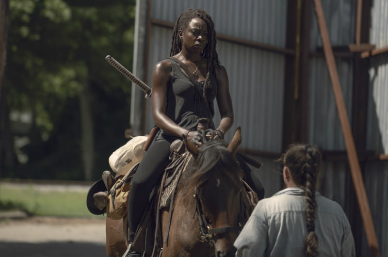 Michonne rides in on a horse on The Walking Dead