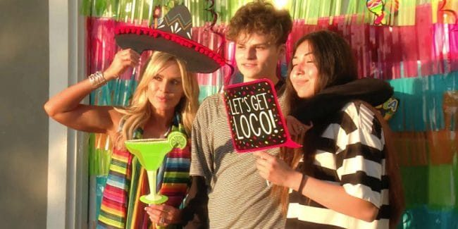 Tamra Judge with her son Simon Barney and his girlfriend on The Real Housewives of Orange County