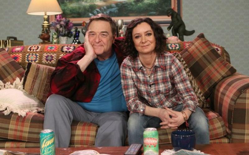 John Goodman and Sara Gilbert on the set of The Conners