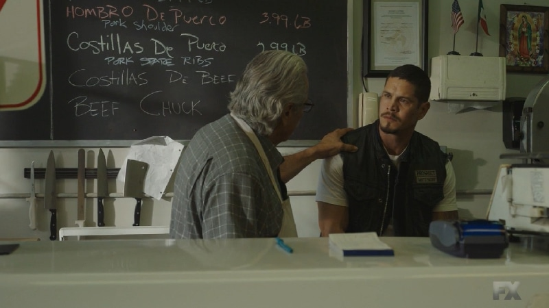 Still Image from Mayans M.C. Cuervo/Tz'ikb'uul. Felipe warns his son EZ not to allow Potter to turn him into a monster regarding the request to kill Kevin Jimenez. Pic Credit: FX