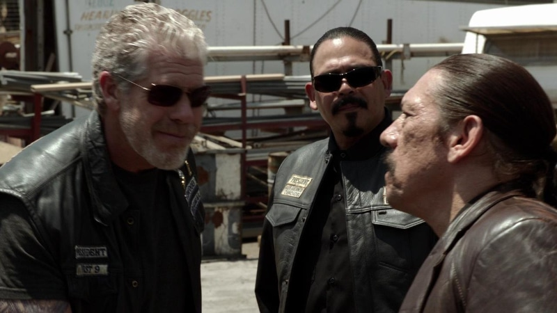 Mayans M.C. National President Marcus Alvarez (Emilio Rivera) introduces Romeo Parada to Clay Morrow (Ron Perlman) in Sons of Anarchy season 4 episode 2 Booster. Image Credit: FX