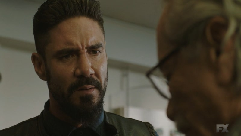 Still Image from Mayans M.C. Cuervo/Tz'ikb'uul. Angel pushes his father Felipe to reveal Kevin's location in order to complete the hit himself. Pic Credit: FX