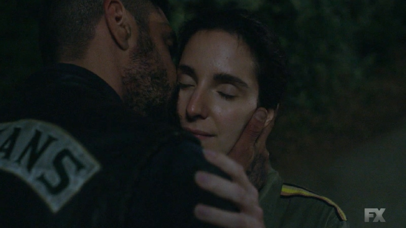 Still Image from Mayans M.C. Cuervo/Tz'ikb'uul. Angel expresses relief knowing Adelita is safe but turns down her invitation to stay the night due to his conflict with EZ and Potter. Pic Credit: FX