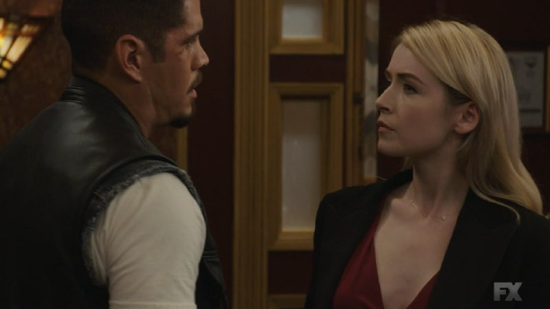 Still Image from Mayans M.C. Serpiente/Chikchan. Emily confronts EZ about informing on her husband to which EZ remarks she has accepted all that comes with the cartel life after her wavering feelings in early episodes. Pic Credit: FX
