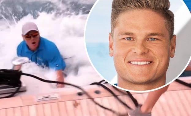 Ashton Pienaar getting pulled overboard on Below Deck