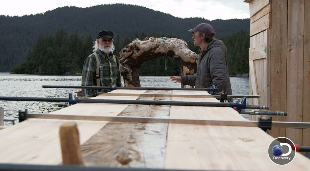 Atz Senior and Junior look at the table and plan the next cut. Pic credit: Discovery