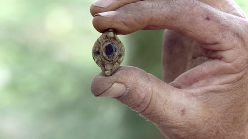 Jeweled brooch discovered on Oak Island