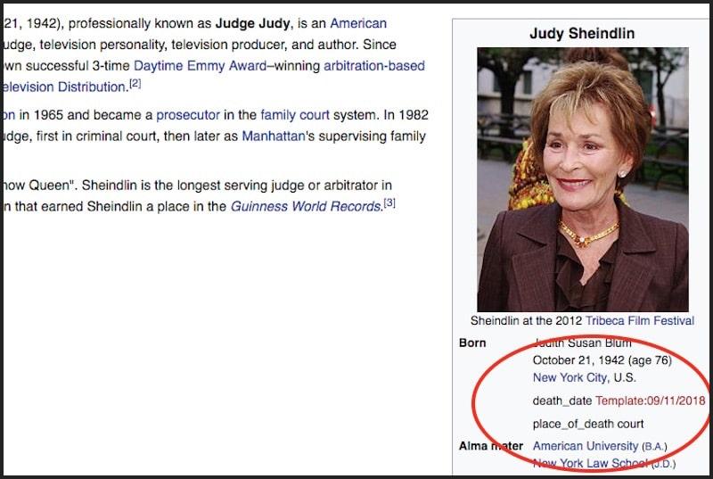 Judy Sheindlin Wikipedia page
