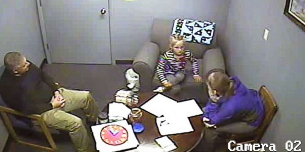 Police interview the couple's daughter