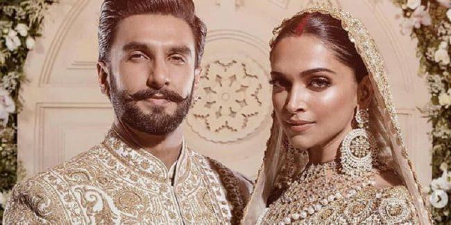 Deepika Padukone and Ranveer Singh in indian wedding garb