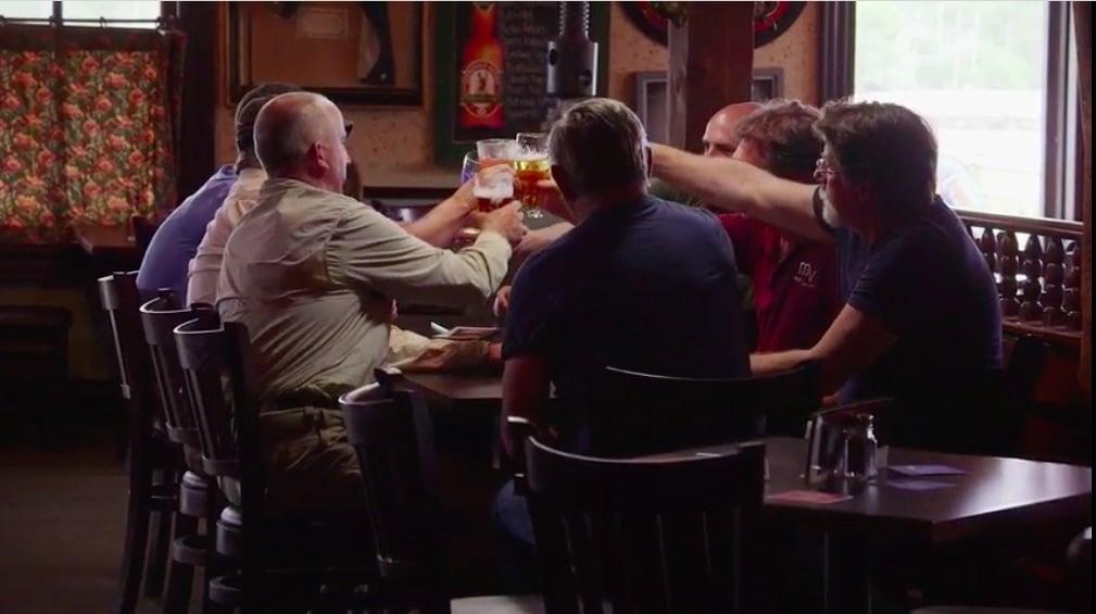The group raise a toast