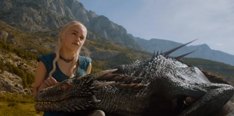 Daenerys Targaryen with one of her Game of Thrones dragons.