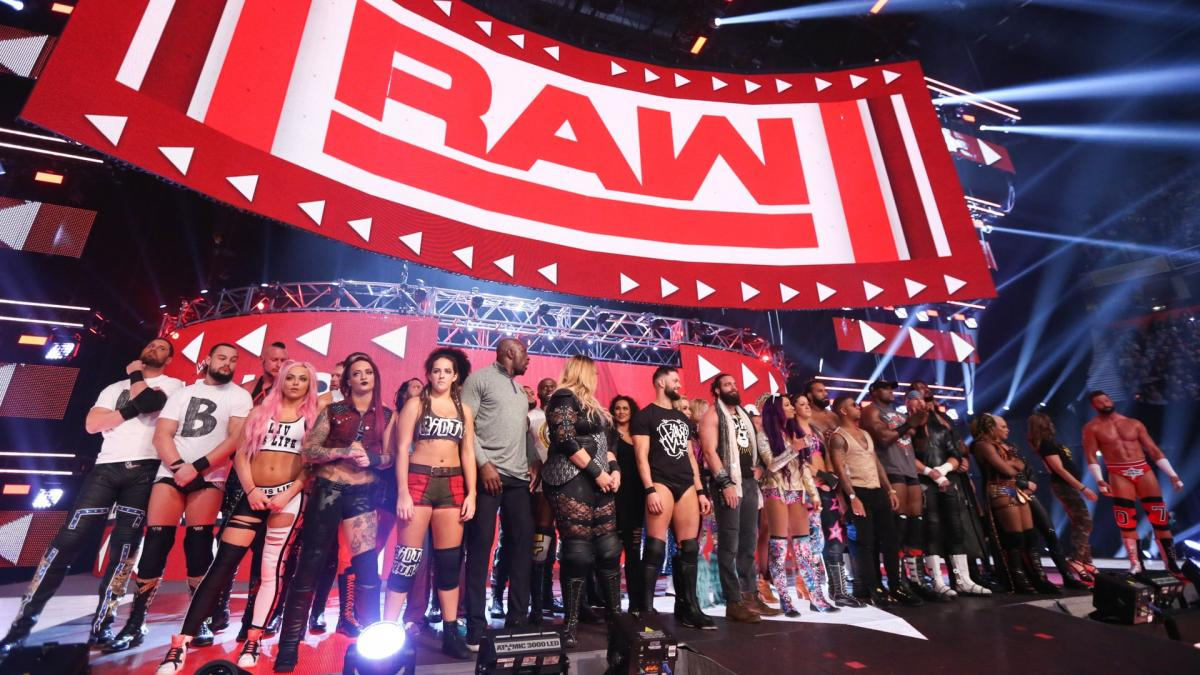 Wrestlers lined up at WWE Raw