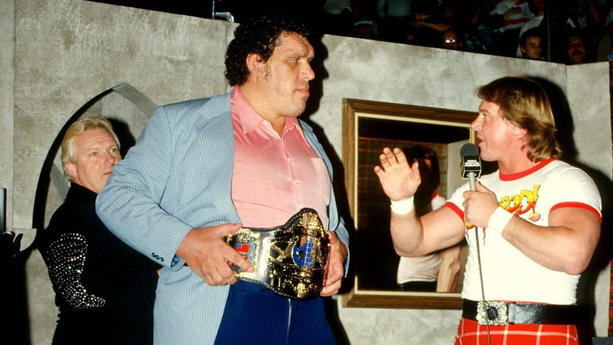 Andre the Giant with Rowdy Roddy Piper and Dusty Rhodes